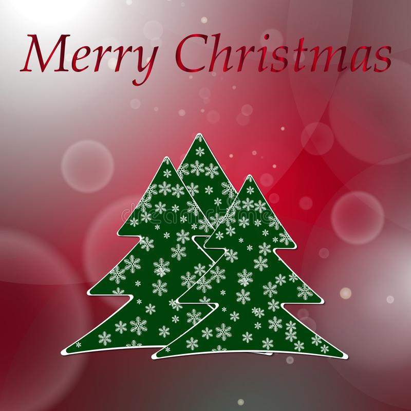 Abstract red round bokeh background with christmas tree royalty free illustration