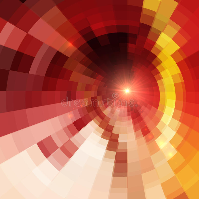 Abstract Red Shining Circle Tunnel Background Stock Photography