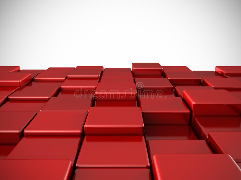 Abstract red shiny cubes background vector illustration