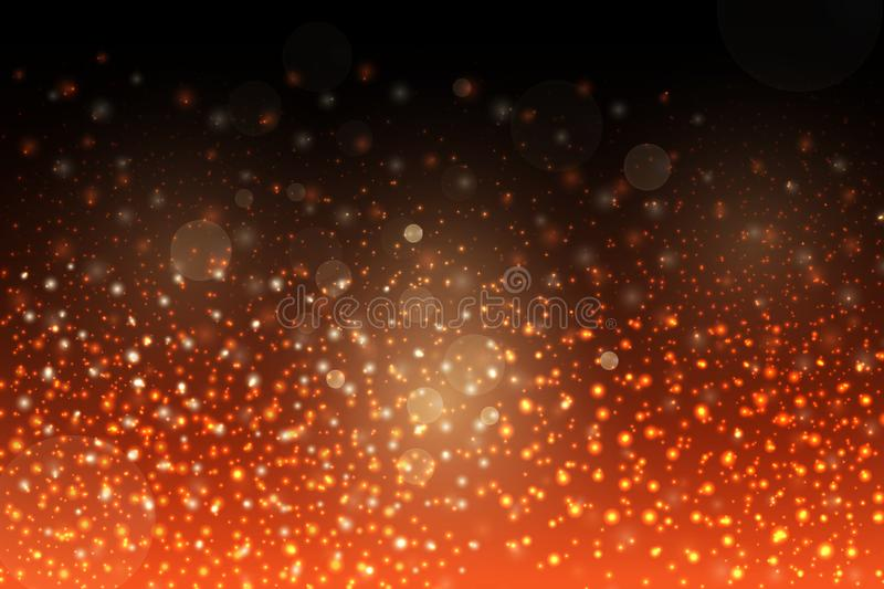Abstract red sparkles on black background. Abstract falling red lights. Fantasy fractal texture. vector illustration