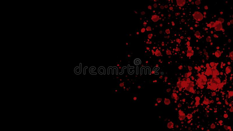 Abstract red splashes on the right of black background royalty free illustration