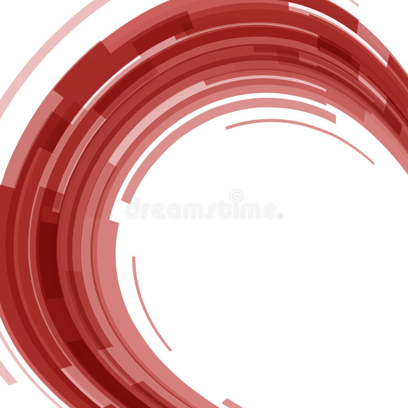 Abstract red technology circles distorted background. Stock vector stock illustration