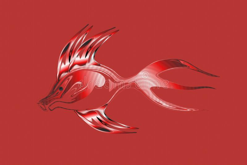 Abstract red tonal transparent fish with textured Background. Vector Illustration stock illustration