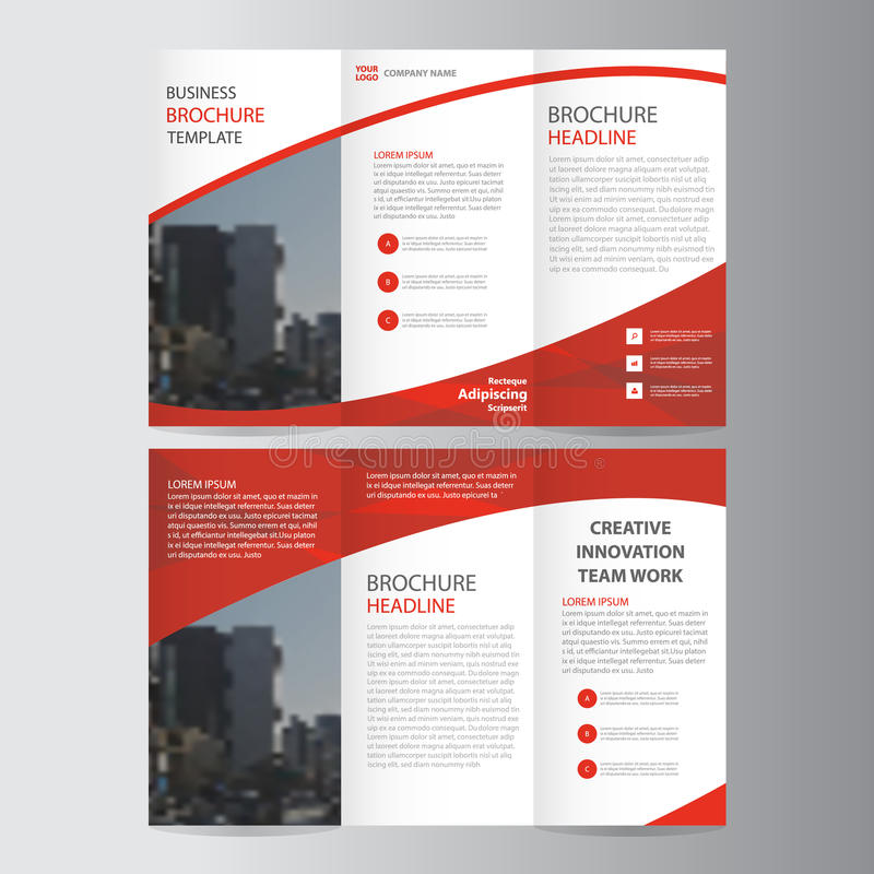 Abstract Red Trifold Leaflet Brochure Flyer Template Design Book