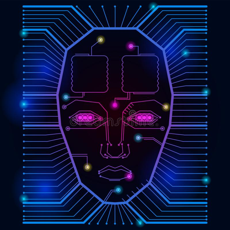 Abstract red vector background with high tech circuit Board lights and the face of a man vector illustration