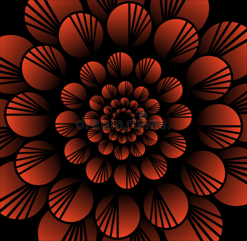Abstract red vector flower in fractal style on black background, high contrasting decorative tile with 3d effect stock illustration