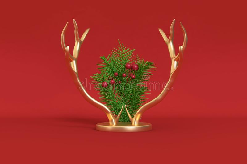 Abstract rein deer metallic gold horn christmas background,holiday christmas new year winter concept 3d rendering stock image