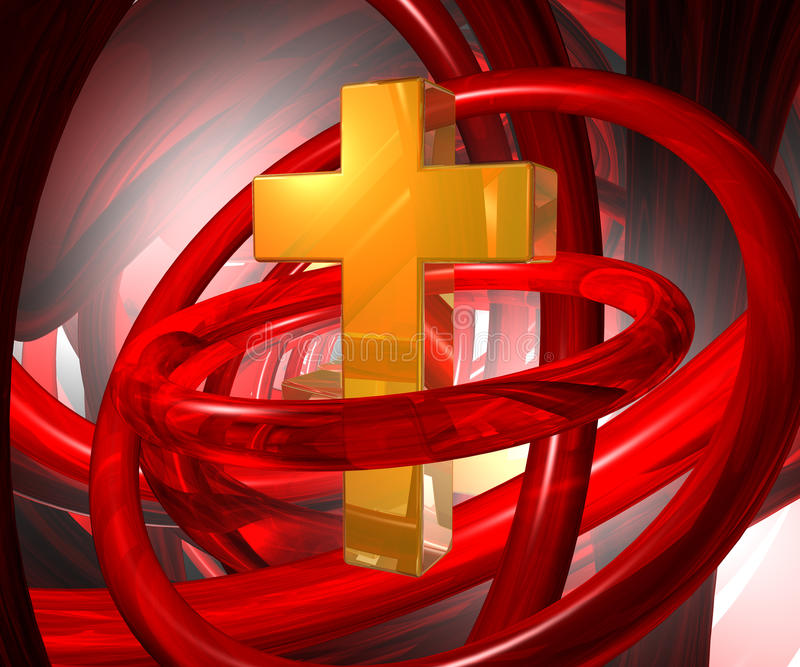 Abstract religion. Golden christian cross in abstract space - 3d illustration royalty free illustration