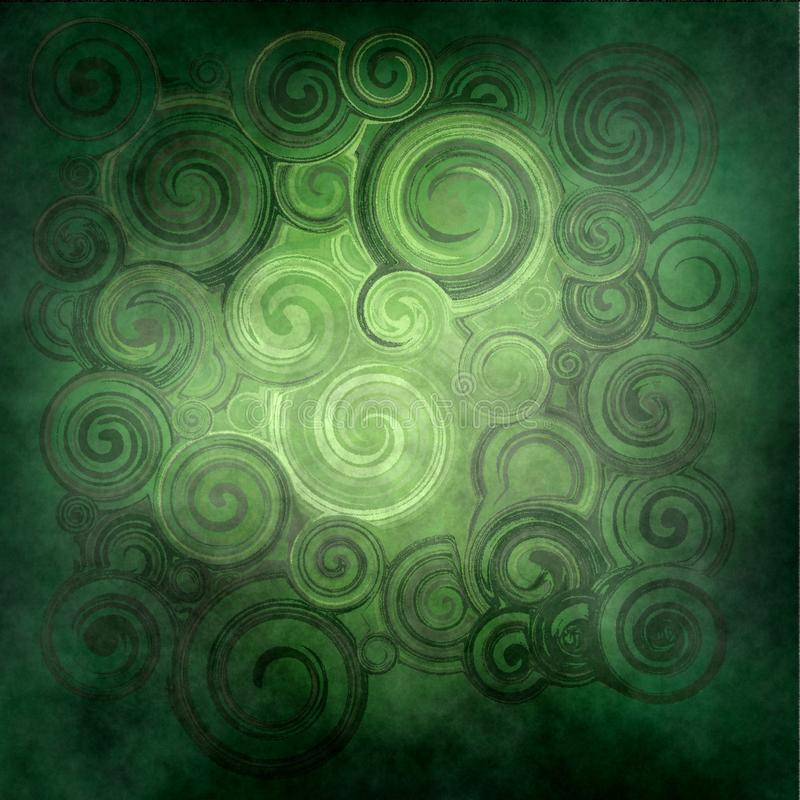 Abstract rendered , green waves and twirl stock photos