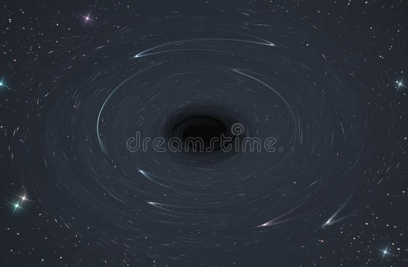 Abstract, representation of the space and time space in the vicinity of a black hole in the open space of infinite universe stars royalty free illustration