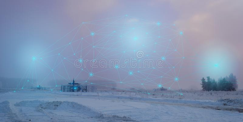 Abstract representation of a wireless gas production well control. Increase efficiency and reduce equipment wear with augmented re royalty free stock photos