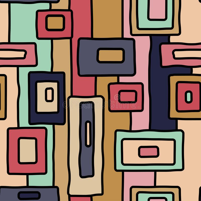 Abstract retro aboriginal vector seamless pattern. For wrapping, craft, textile, fabric stock illustration