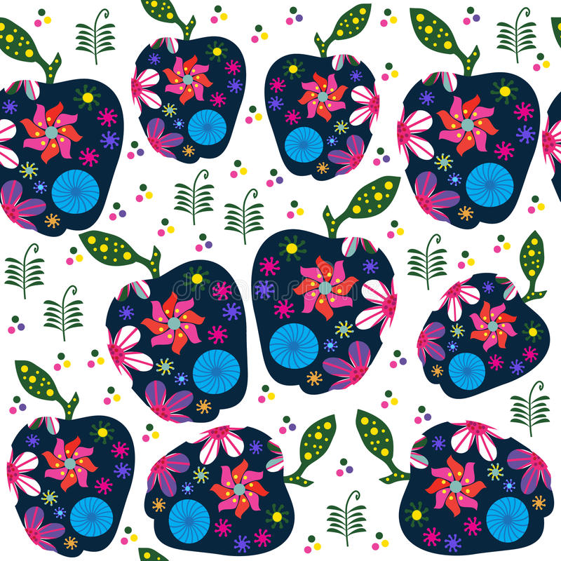 Abstract retro fruitpatroon met appelen, illustratie vector illustratie