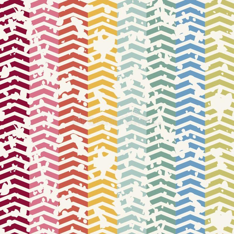 Abstract Retro Geometrisch naadloos patroon met stock illustratie