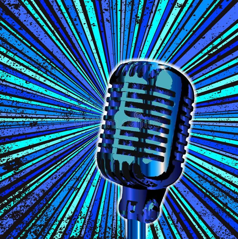 Blue Retro Microphone vector illustration
