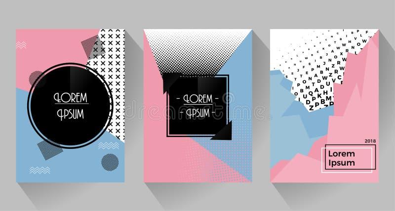 Abstract retro ontwerp van affiches en vliegers Roze en blauwe toon met halftone stock illustratie