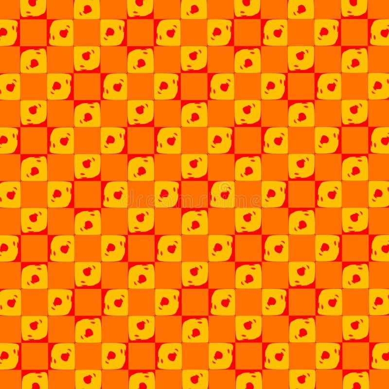 Abstract Retro Orange Dots Tiles Wallpaper stock illustration