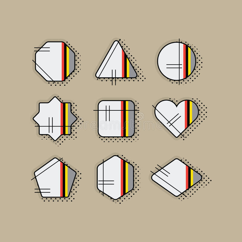 Abstract retro pop art geometrical stripe icons set with dotted shadow vector illustration