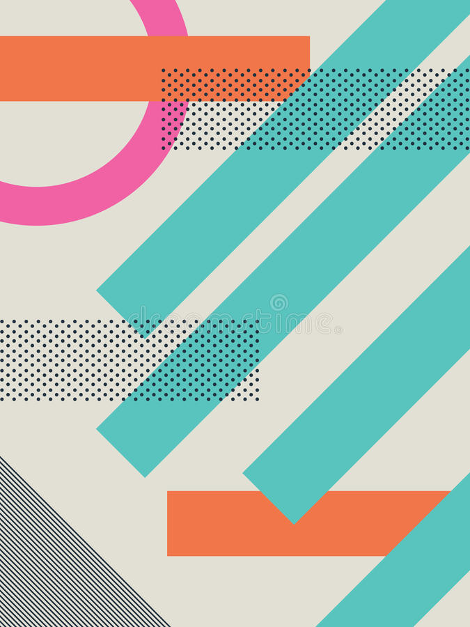 Download Abstract Retro 80s Background With Geometric Shapes And Pattern.  Material Design Wallpaper. Stock