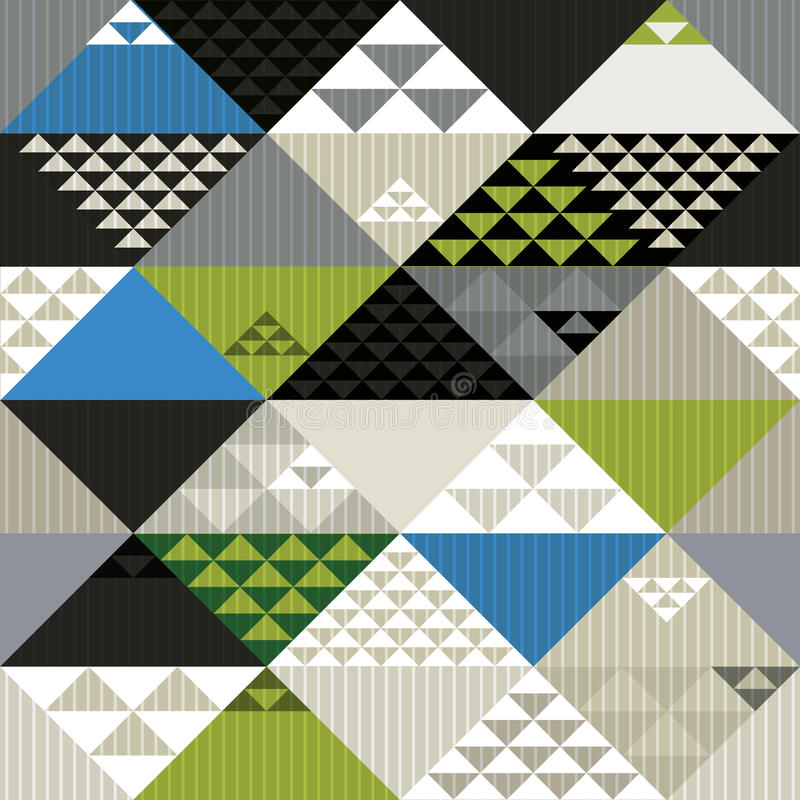 Abstract retro style geometric seamless pattern, vector background. stock illustration