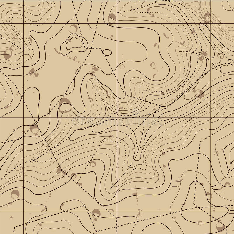 Abstract Retro Topography map Background stock illustration