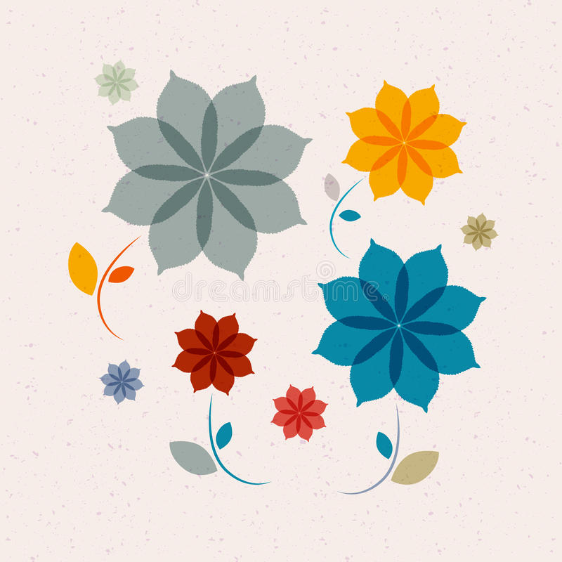 Abstract Retro Vector Flowers royalty free illustration