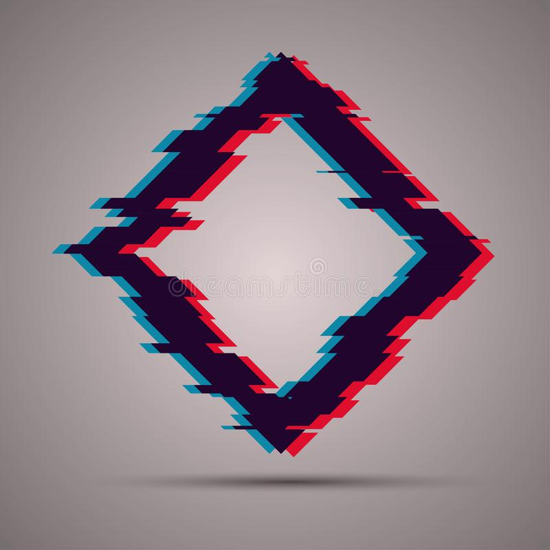 Image with glitch effect. Abstract rhombus shape with TV glitch style. Futuristic template for your banner design stock illustration