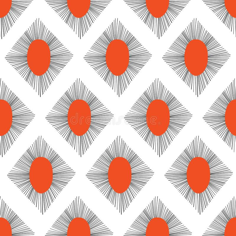 Abstract rhombus shapes seamless vector pattern red black. Repeating background. vector illustration