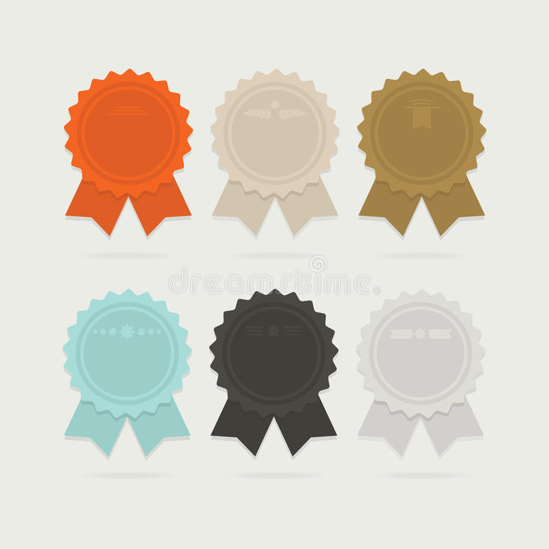 Abstract ribbon award bows set with shadows royalty free illustration