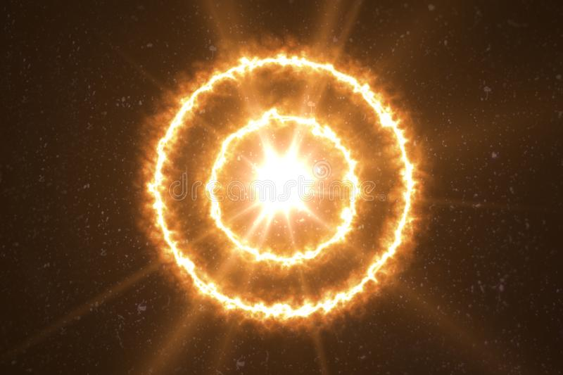 Abstract ring of fire power effect design.Circle flare light in black. Sun shiny with flare vector illustration