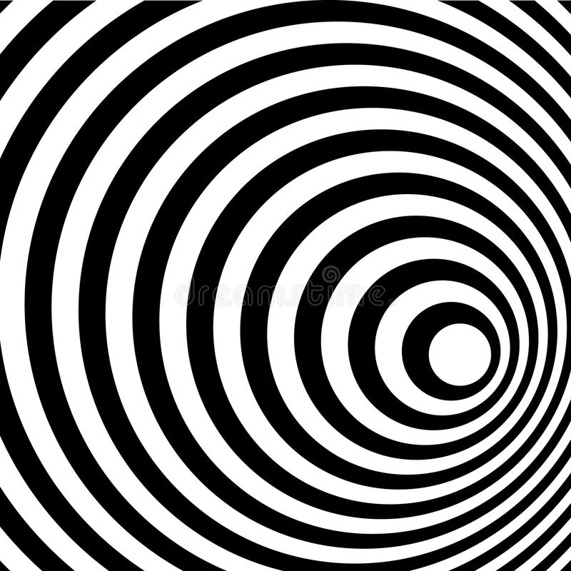 Abstract Ring Spiral Black and White Pattern stock illustration