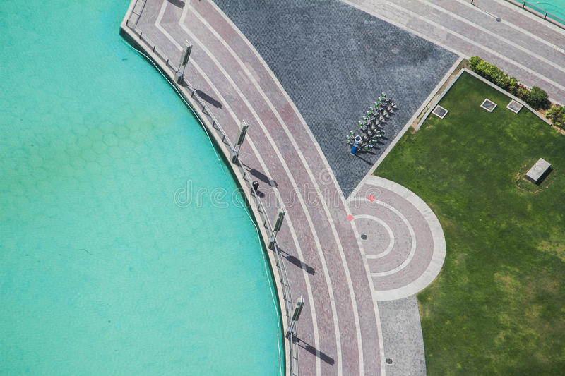 Abstract Road View with Grass and Water from Above, Dubai stock photography