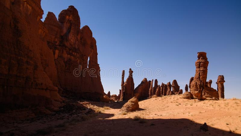 Abstract Rock formation at plateau Ennedi aka stone forest in Chad stock photography
