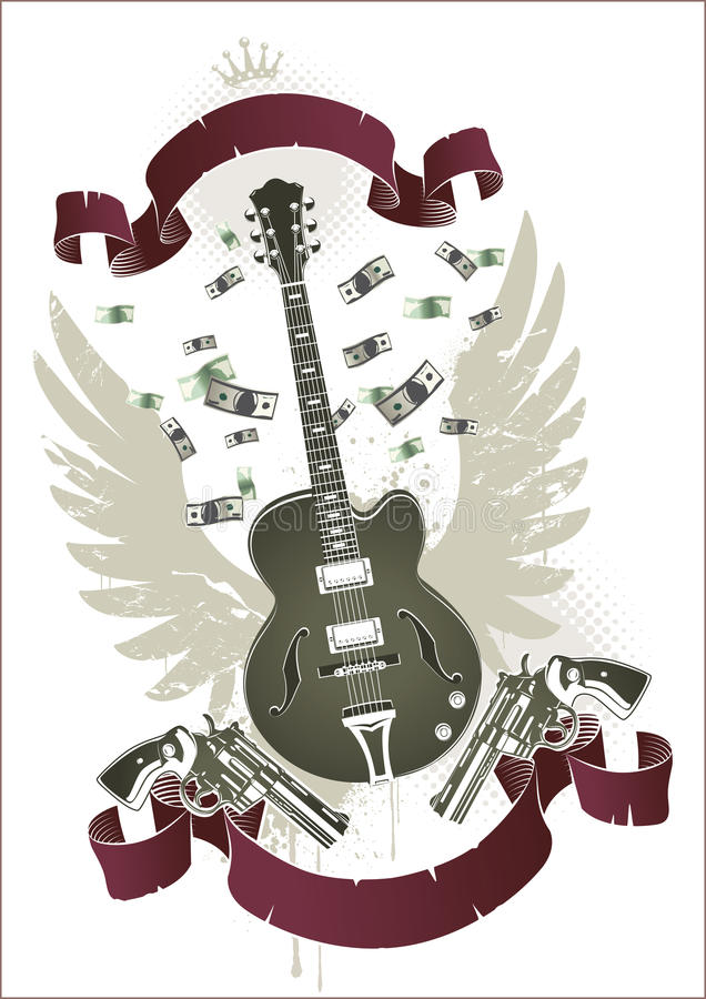 Abstract rock-n-roll image. With two revolvers, guitar, ribbon and money royalty free illustration