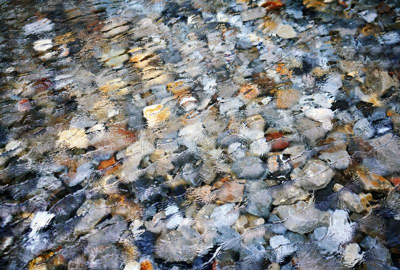 Abstract rock underwater bottom transparent clear water and ripple. royalty free stock photo