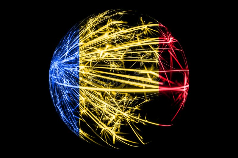 Abstract Romania sparkling flag, Christmas ball concept isolated on black background vector illustration