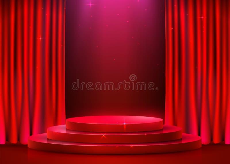 Abstract rond die podium met schijnwerper en gordijn wordt verlicht Het concept van de toekenningsceremonie Stadiumachtergrond royalty-vrije illustratie