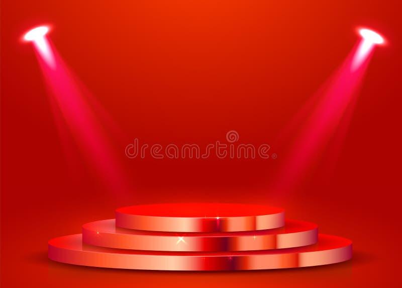 Abstract rond die podium met schijnwerper wordt verlicht Het concept van de toekenningsceremonie Stadiumachtergrond royalty-vrije illustratie