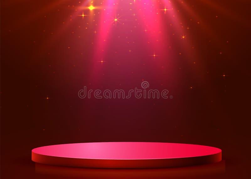 Abstract rond die podium met schijnwerper wordt verlicht Het concept van de toekenningsceremonie Stadiumachtergrond stock illustratie
