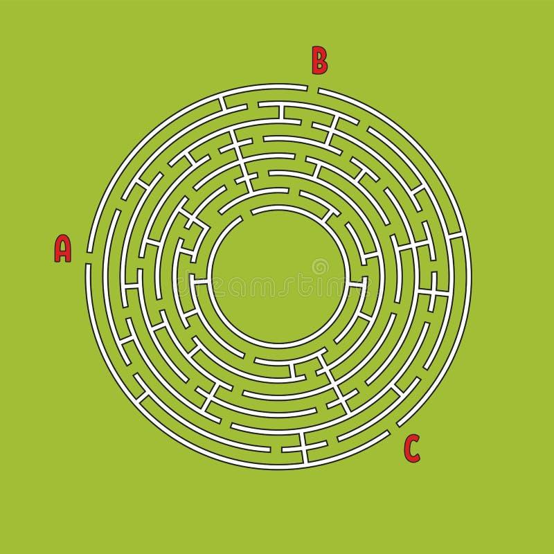 Abstract rond labyrint Spel voor jonge geitjes Kinderen` s raadsel Vele ingangen, één uitgang Labyrintraadsel Eenvoudige vlakke v royalty-vrije illustratie