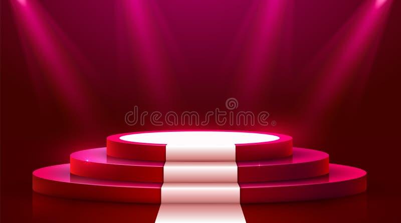Abstract rond podium met wit die tapijt met schijnwerper wordt verlicht Het concept van de toekenningsceremonie Stadiumachtergron stock illustratie