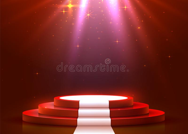 Abstract rond podium met wit die tapijt met schijnwerper wordt verlicht Het concept van de toekenningsceremonie Stadiumachtergron vector illustratie