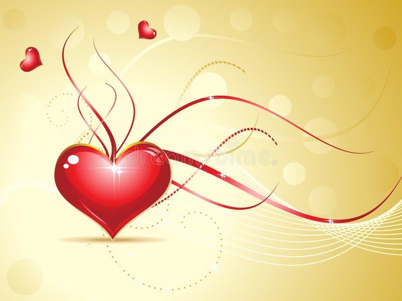 Abstract rood glanzend hart op gouden achtergrond royalty-vrije illustratie