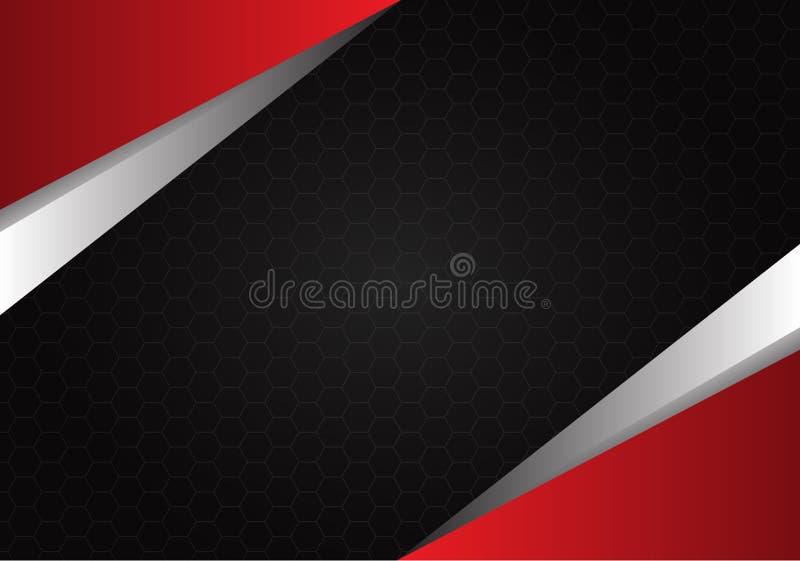 Abstract rood metaal op hexagon van het achtergrond netwerk zwarte ontwerp textuurvector stock illustratie