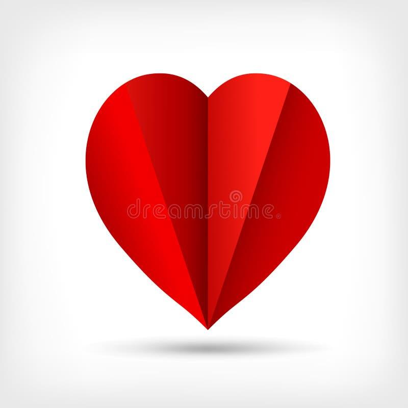 Abstract rood origamidocument hart royalty-vrije illustratie