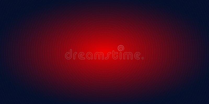 Abstract rood radiaal puntenpatroon halftone op donkerblauwe gradiëntachtergrond Futuristische T.L.-verlichting van het technolog vector illustratie