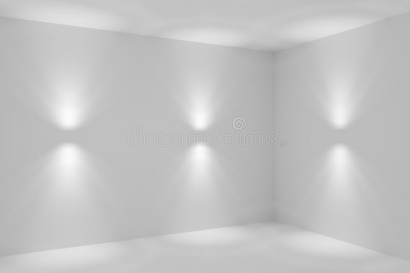 Abstract room corner with wall lamp spotlights closeup. Abstract empty white room corner with wall lamp spotlights with walls, floor and ceiling without any stock illustration