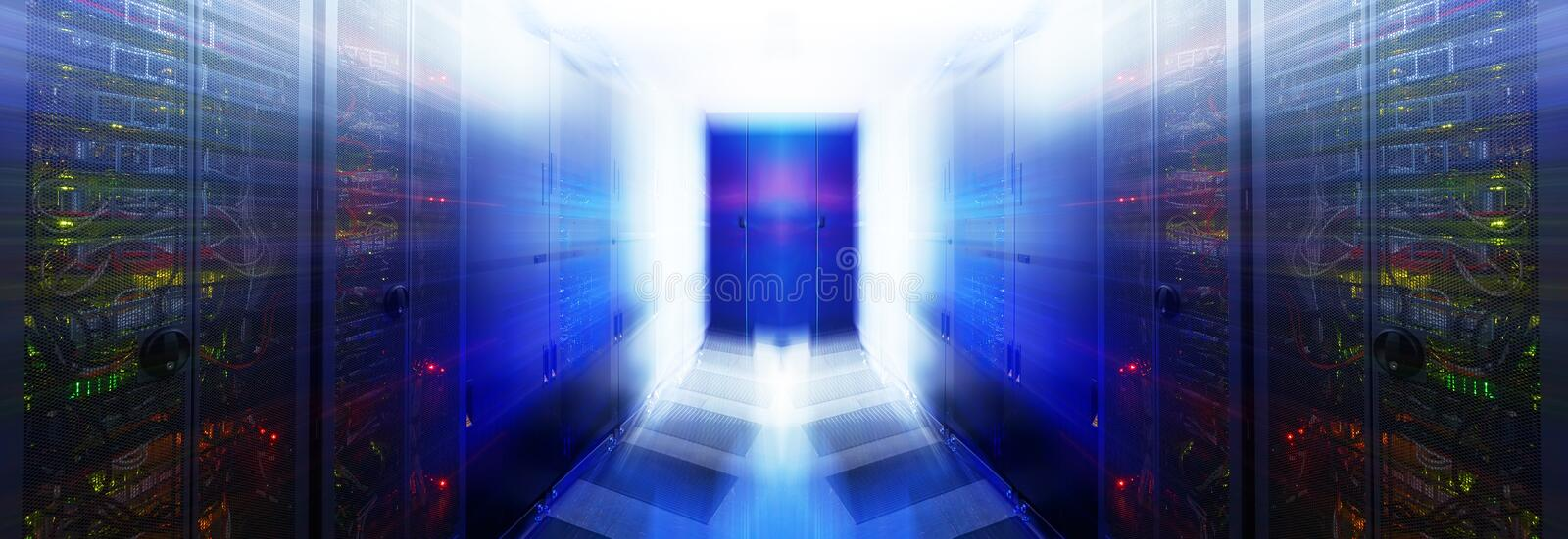 Abstract room with rows of server hardware in the data center. Abstract room with rows of server hardware in data center stock image