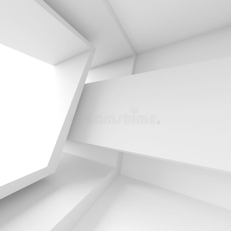 Abstract Room with Window. White Modern Interior Background. 3d Rendering royalty free illustration