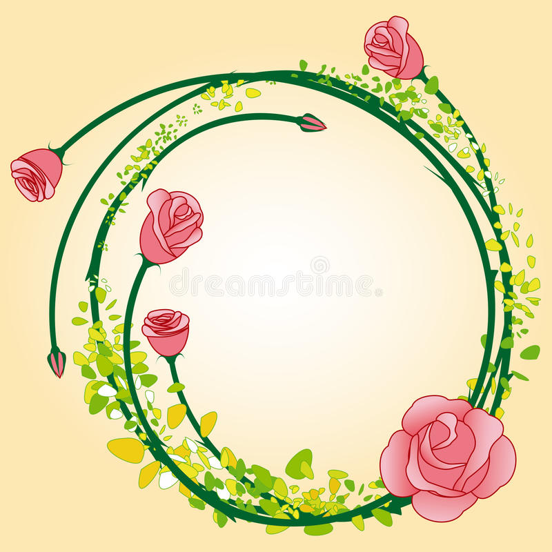 Abstract rose flower frame background vector illustration